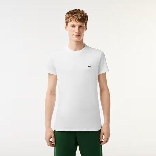 6c2053bf75d1f Camiseta Lacoste Básica Jersey Masculina - Branco - Compre Agora ...