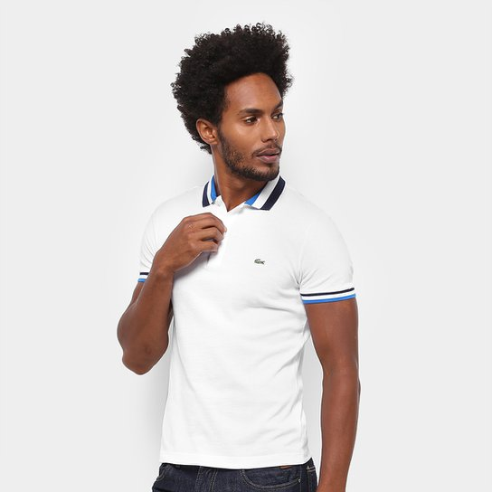 26b793c36154c Camisa Polo Lacoste Piquet Slim Fit Gola Contraste Masculina - Branco