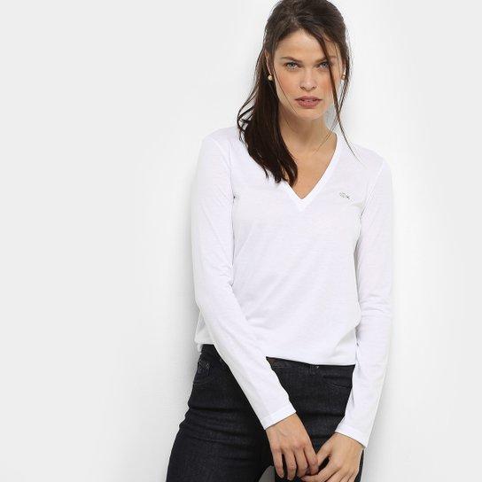 Camiseta Lacoste Manga Longa Decote V Feminina - Compre Agora   Netshoes 495e3f9c69