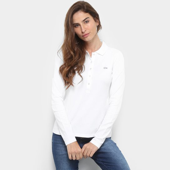 Camisa Polo Lacoste Manga Longa Botões Feminina - Compre Agora ... fa17be0922