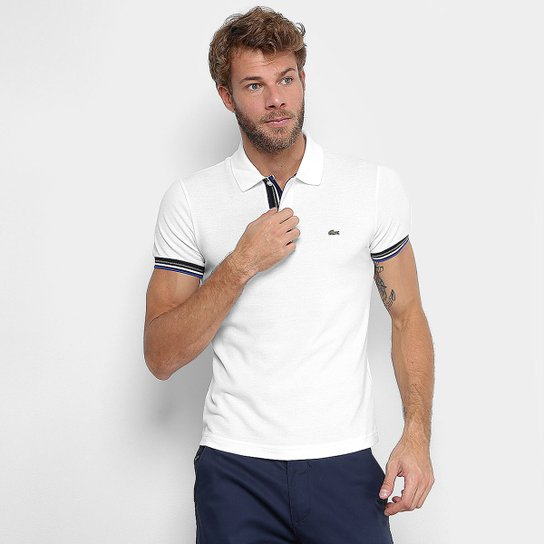 c52a63c368ffd Camisa Polo Lacoste Piquet Slim Fit Frisos Manga Masculina - Compre ...