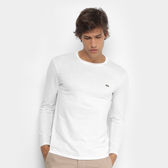 Camiseta Lacoste Básica Manga Longa Masculina - Compre Agora   Netshoes eae88aa1b5