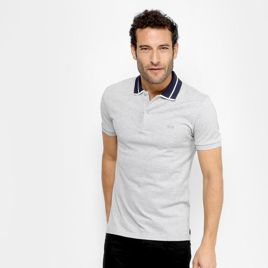 01a4088fdb03e ... Camisa Polo Lacoste Piquet Slim Fit Fancy Contraste Masculina - Cinza  d40f7ce65ed0d5 ...