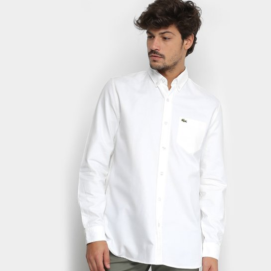 Camisa Lacoste Manga Longa Básica Masculina - Branco - Compre Agora ... 3bd68ff8ba