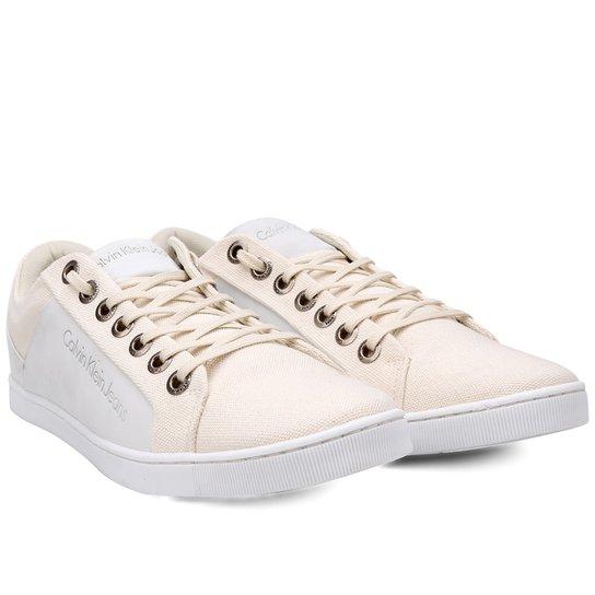 560eb29e8 Sapatênis Calvin Klein Basic Masculino - Branco e Areia | Netshoes