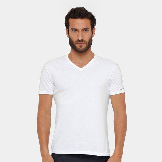 0cc7093464 Camiseta Calvin Klein Gola V Cavada Masculina - Branco