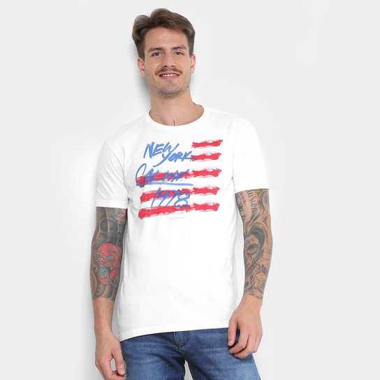 Camiseta Calvin Klein New York 1978 Masculina - Branco - Compre ... 8976a2f724f