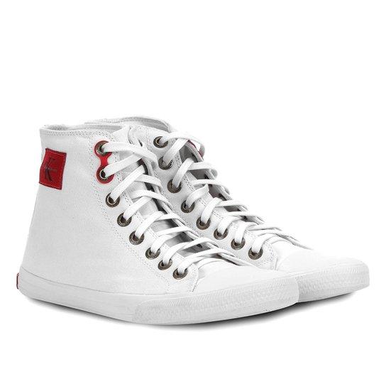 6beccfe345d09 Sapatênis Calvin Klein Cano Alto Lona Masculino - Branco - Compre ...