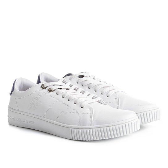f3f664a257309 Sapatênis Couro Calvin Klein Masculino - Branco - Compre Agora ...