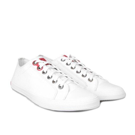 2abdd51e36b83 Sapatênis Calvin Klein Lona CK Masculino - Branco - Compre Agora ...