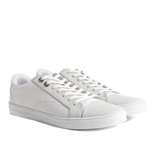 f9539a57ca776 Sapatênis Calvin Klein Lona Masculino - Branco - Compre Agora   Netshoes