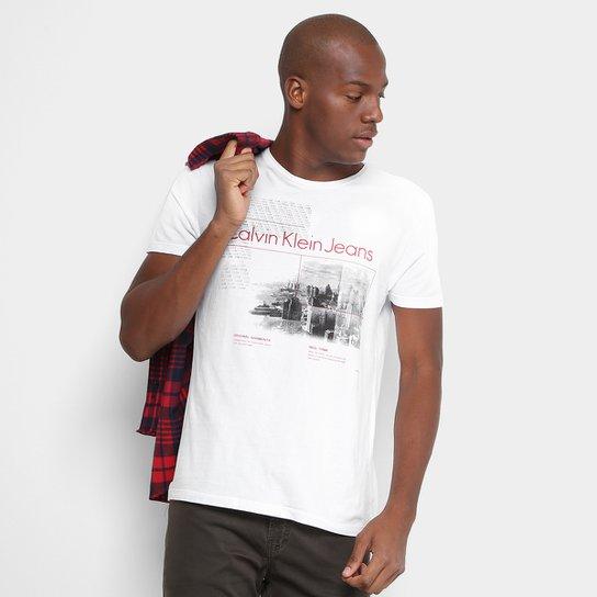 fbba9caa7f852 Camiseta Slim Calvin Klein Estampada Masculina - Compre Agora   Netshoes
