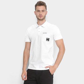 4ad597c31d Camisa Polo Bolso Estampado Calvin Klein Manga Curta Masculina