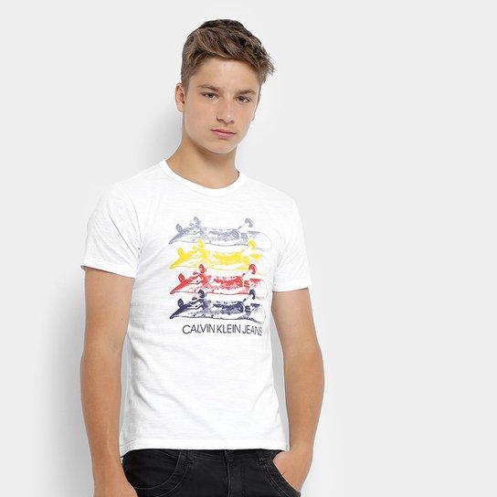 Camiseta Infantil Calvin Klein Estampada Masculina - Branco - Compre ... fcb9b441bc5