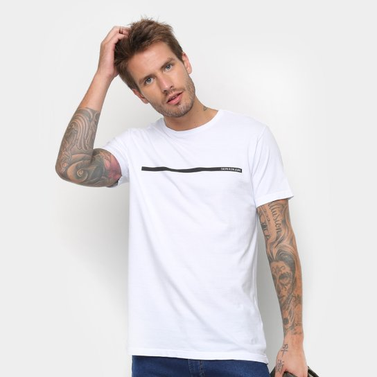 df30e94d912c8 Camiseta Calvin Klein Estampa Básica Masculina - Branco - Compre ...