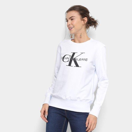 568561a2f98601 Moletom Calvin Klein Logo Feminino - Branco