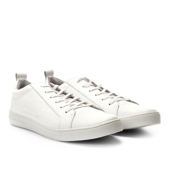 ab29f51e25a6f0 Tênis Couro Calvin Klein Relevo Logo Masculino - Branco
