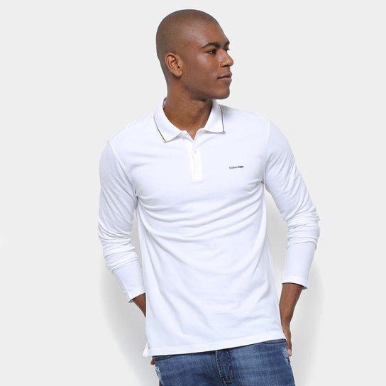 ba0b7f4701 Camisa Polo Calvin Klein Manga Longa Slim Masculina - Branco