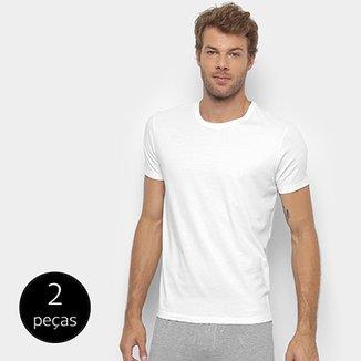 815485ba58 Kit Camiseta Calvin Klein Algodão Pima Masculina 2 Peças