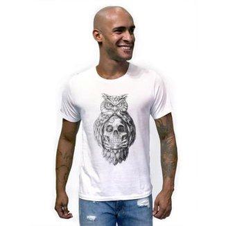 Camiseta Joss Caveira Coruja Masculina 2b00184ddad