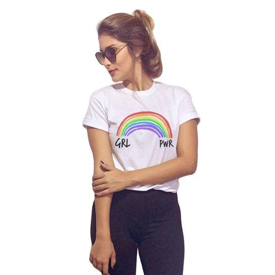 fa598a0da6 Camiseta Baby Look Girl Power - Branco - Compre Agora