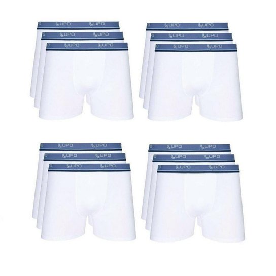 4ce41ca20 Kit Cuecas Boxer Lupo 12 Peças - Branco - Compre Agora