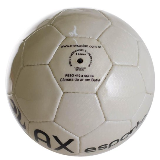 6bc911d33b265 Bola de Futsal AX Esportes Maxi com 32 Gomos Costurados - Branco ...