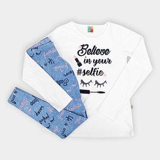 4079c5938f Conjunto de Blusa + Calça Legging infantil Bee Loop Believe Feminino