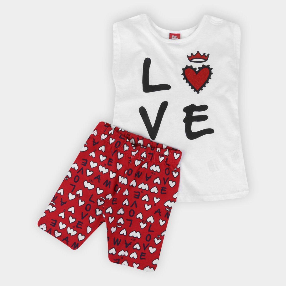 Conjunto Infantil Curto Bee Loop Love Feminino