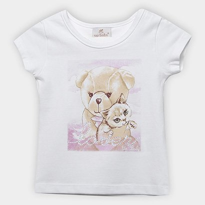 Blusa Manga Curta Infantil Up Baby Bichos Feminina