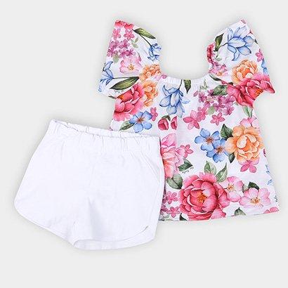 Conjunto Infantil Up Baby Bata E Shorts Bengaline Floral Feminino