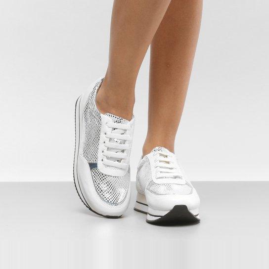 e24286a4ba Tênis Couro Cravo   Canela Jogging Feminino - Branco. Loading.