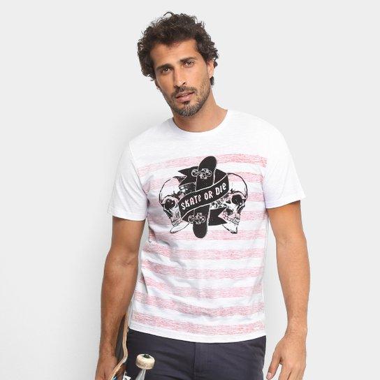 Camiseta Mood Striped Skull Masculina - Branco - Compre Agora  1bacd48657cf3