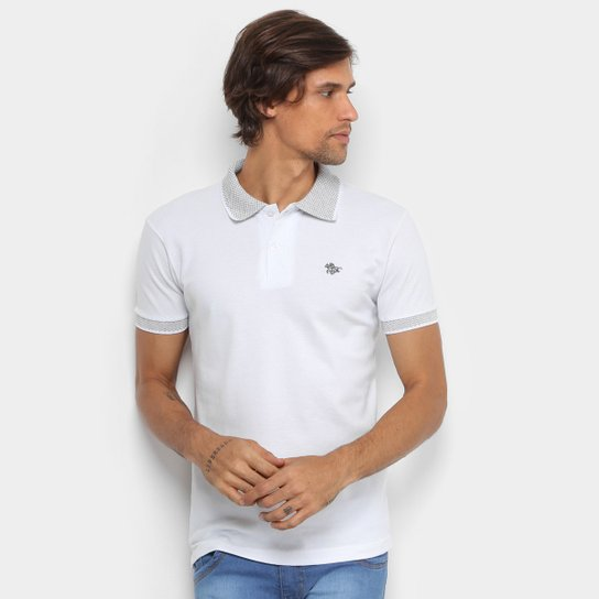 Camisa Polo RG 518 Lisa Gola Quadriculada Logo Metalizada Masculina - Branco 930e1a68fe10a
