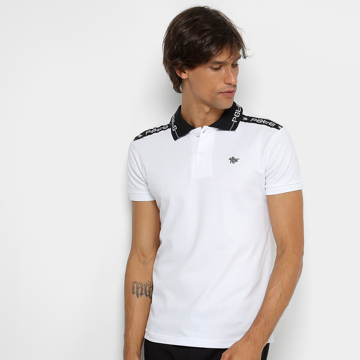 Camisa Polo RG 518 Recorte Estampado Masculina. undefined b8ab1ad6eb8a2