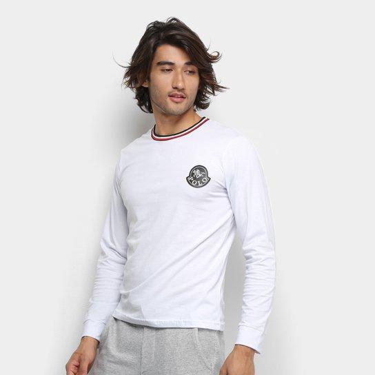 1aab1b46df Camiseta Polo RG 518 Gola Listrada Logo Manga Longa Masculina - Branco