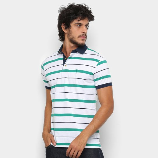 513ca8bb3f Camisa Polo Aleatory Fio Estampa Listrada Masculina - Branco e Verde ...