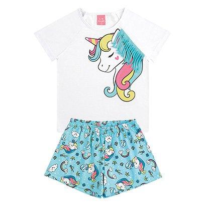 Pijama Infantil Curto Kamylus Unicórnio Com Franjas Feminino