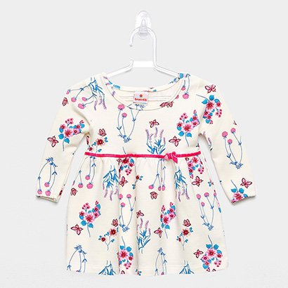Vestido Infantil Brandili Molecotton Peluciado Floral