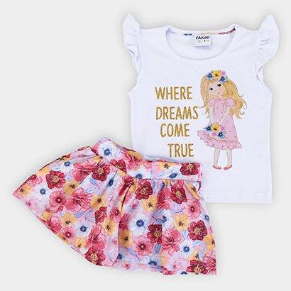 Conjunto Infantil Fakini Glitter Floral Feminino