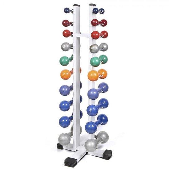 2b9603771 Kit Torre Expositor Suporte Chão e 10 Pares Halter 1 a 10 Kg - Branco