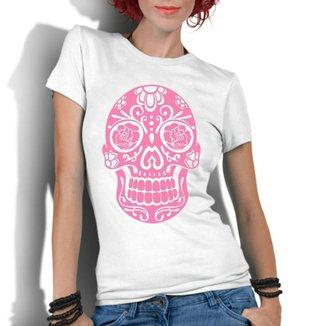 Camiseta Criativa Urbana Caveira Mexicana Rosa 15413303b4b