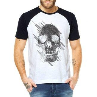 32539eae5 Camiseta Raglan Criativa Urbana Caveira Estilizada