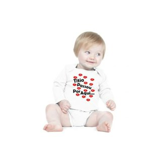 9236e2b95 Body Bebê Frases Engraçadas e Divertidas Madrinha Dinda Titia Manga Longa  Criativa Urbana