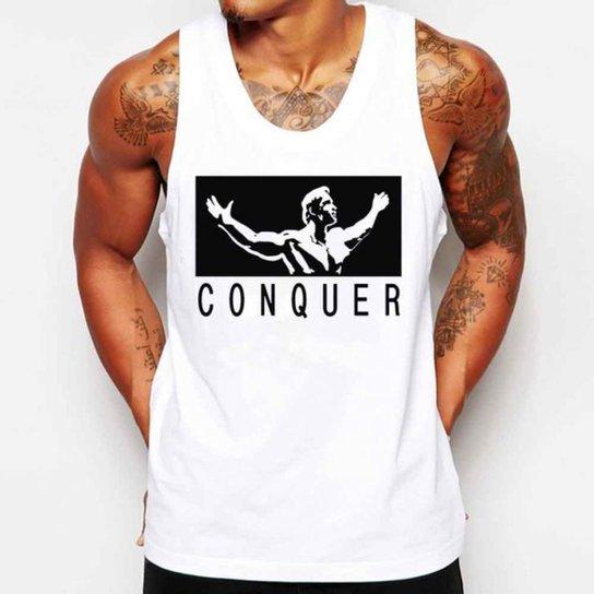 1e05f5a20 Camiseta Regata Criativa Urbana Conquista Academia Fitness - Branco ...