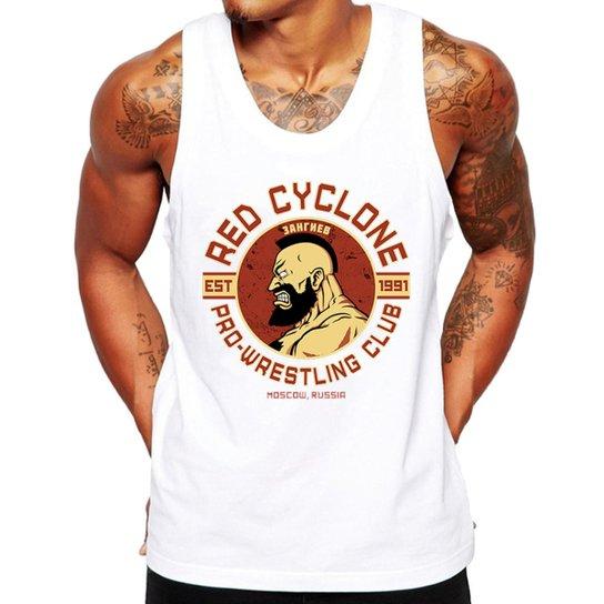 Camiseta Regata Criativa Urbana Fitness Red Cyclone - Branco ... 6c27f66374f21