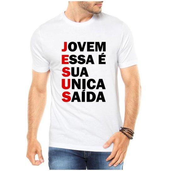 3fa96ad783 Camiseta Criativa Urbana Gospel Evangélica Religiosa Saída - Branco ...
