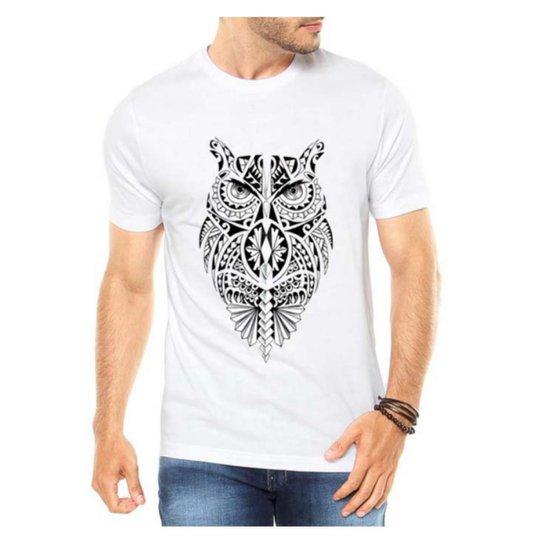 bd22a2c66c Camiseta Criativa Urbana Coruja Tribal - Branco