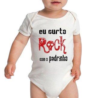 Body Criativa Urbana Bebê Frases Engraçadas Curto Rock Com Padrinho Dindo ad45c020471