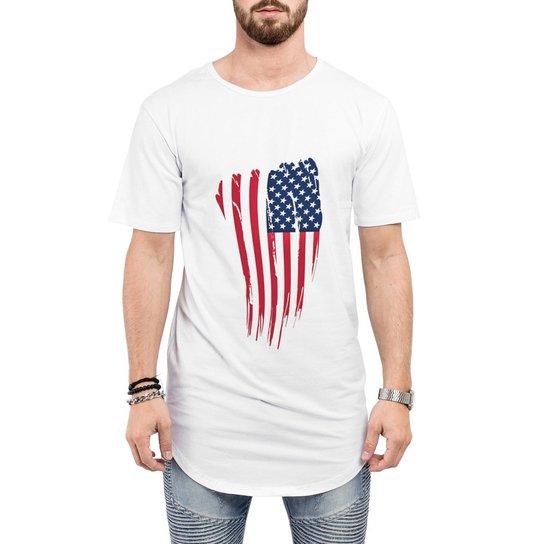 ad16d0693e Camiseta Criativa Urbana Long Line Oversized Bandeira USA EUA - Branco